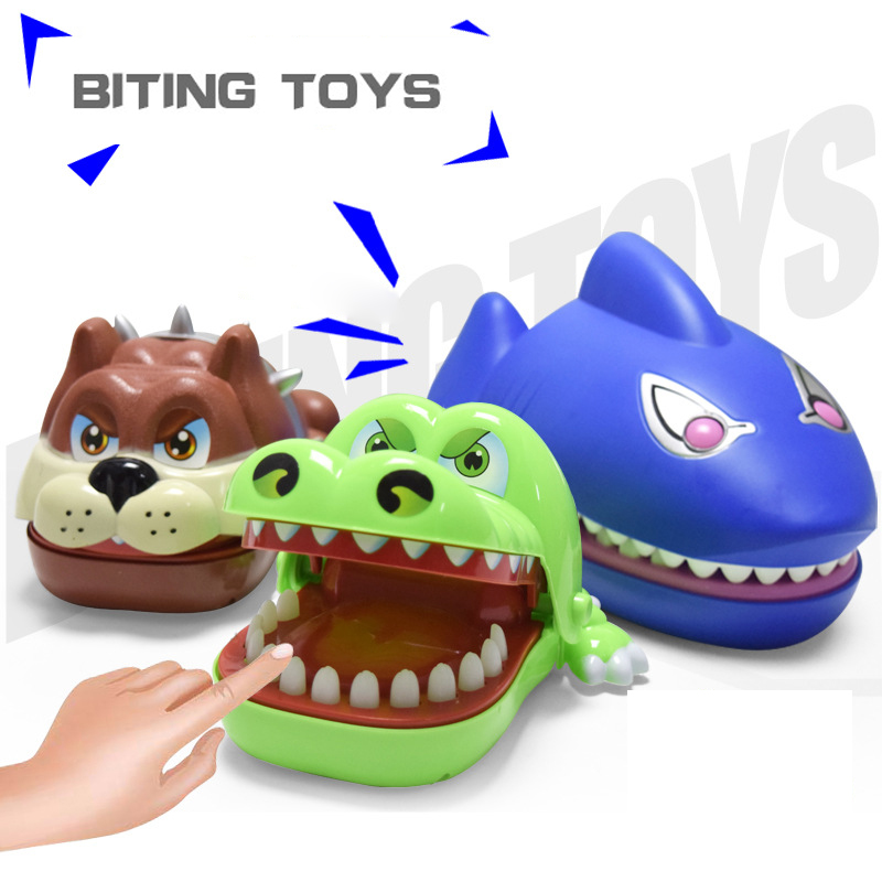 Funny Toys Trick Cartoon Large Crocodile Shark Mouth Dentist Bite Finger Game Funny Novelty Gag Toys for Kids Children Play Fun