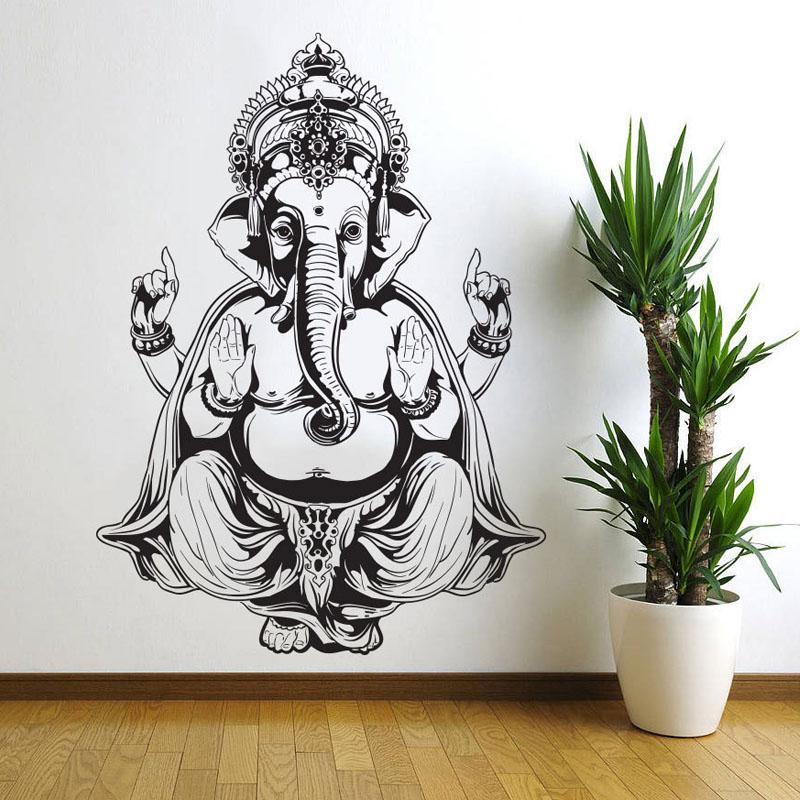 ganesha elefante buda mandala yoga pegatinas de pared extrable diy decoracin del hogar de vinilo etiquetas
