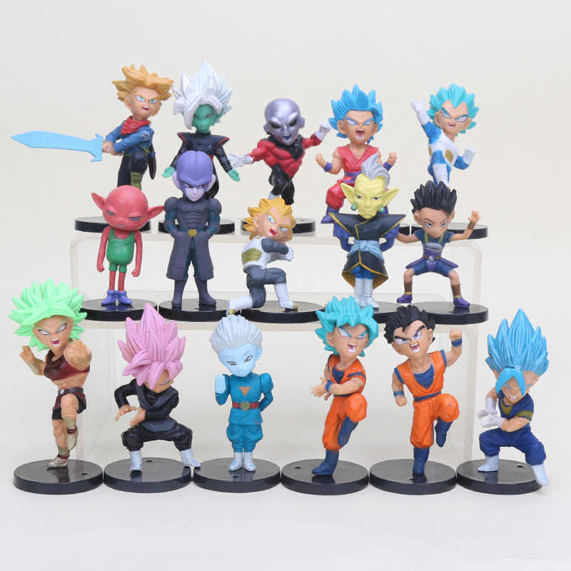 16 pcs 18 pcs Dragon Ball Super Saiyan Rose Black Jiren Son Goku Gohan Vegeta Trunks Figuras de Ação Bonecos Colecionáveis figurinhas