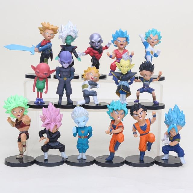 16 piezas 18 piezas Dragon Ball Super Saiyan Rosa negro Son Goku Gohan Jiren figuras de acción Vegeta troncos coleccionables muñecas figuras
