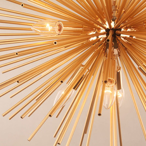 Image 3 - Dandelion Hedgehog Chandelier Aluminum Tube Spark Ball Creative Lamp Golden American Post modern Simple Restaurant Chandelier