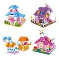 Розовый Дом Фантазия Перевозки Алмазные Блоки Девушки Мини Building Blocks Игрушки Подарок для Детей