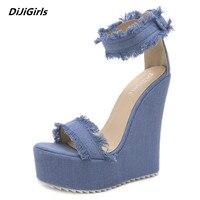 DiJiGirls Street Beat Denim Sandals Blue Heels Women Shoes 2018 Summer Wedge Platform Heels Sandals Plus Size 35 40 Ladies Heels