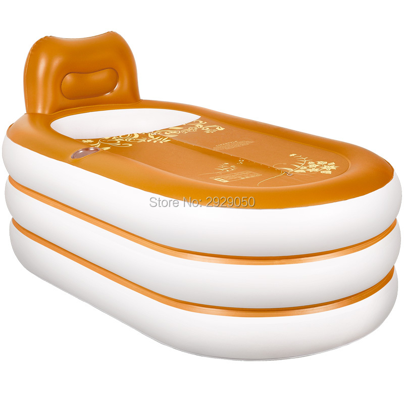 Size 160 * 92 * 75 cm, with pump, thick leather pattern inflatable tub, adult folding bathtub, bathtub, plastic bathtub