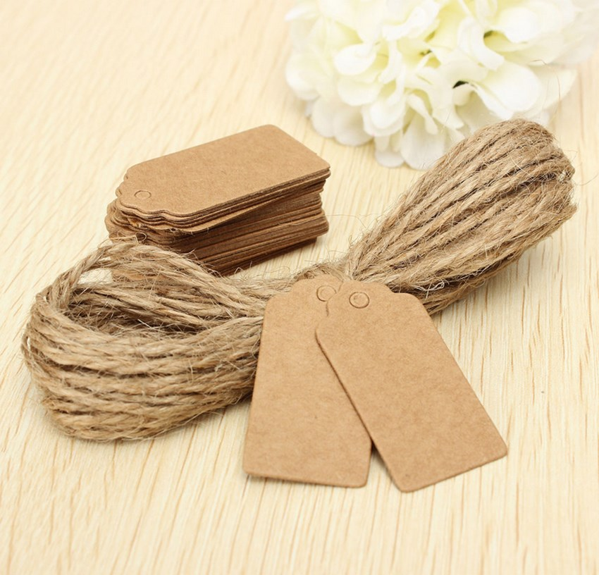 Hot 100X Brown Kraft Paper Tags Lace Scallop Head Label Luggage Wedding Note +String