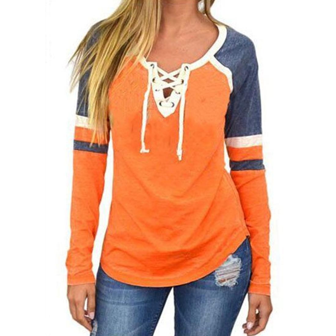 2018 spring summer women t shirts long sleeve sexy deep v neck bandage tee shirt women lace up - Tee shirt sexy ...
