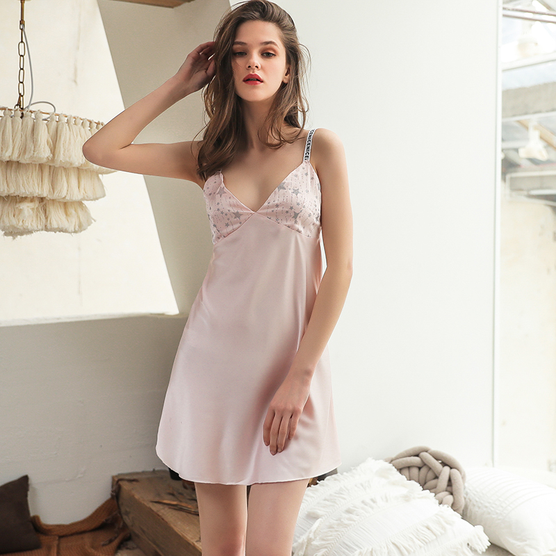 Shetelisi Satin Chiffon Women Nightgown Star Pattern Printing Sexy Spaghetti Strap Sleepwear Trim Cute Sweet Nightie Sp0133