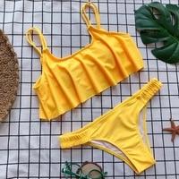 Push Up New 2018 Simple Solid Color Bikini Set Sexy Low Waist Beach Swimwear Women Up