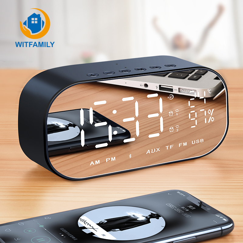 Multifunction Digital Temperature Alarm Clock Wireless Bluetooth Clock Table with <font><b>Speakers</b></font> Home Mini LED Display image
