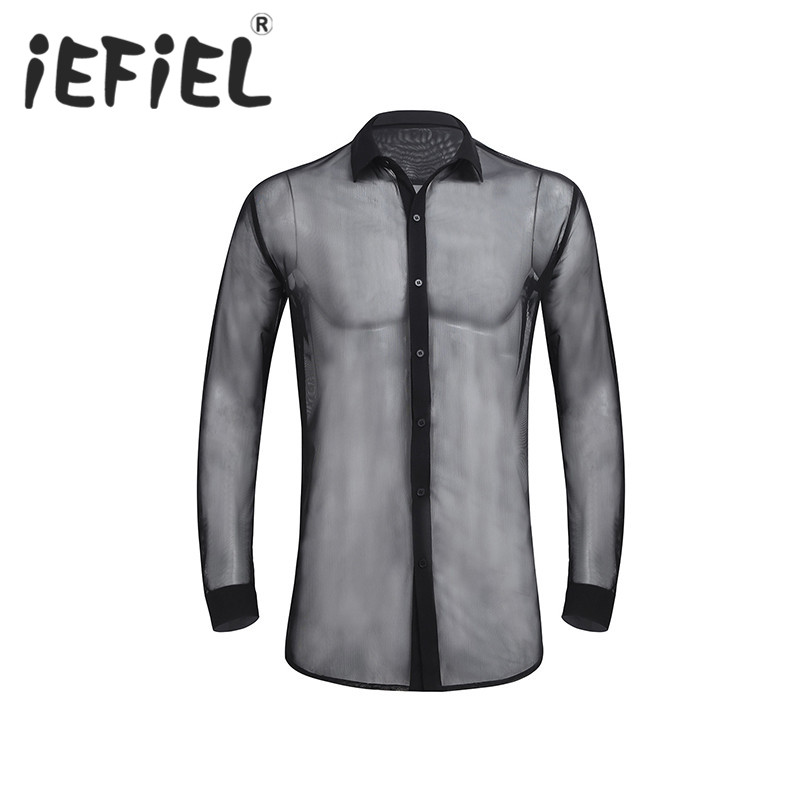iEFiEL Fashion Mens Male Long Sleeve See Through Mesh Clubwear Nightwear Soft Top Shirt Casual Mens Evening Party WetLook Shirt