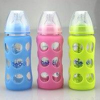 240ml Bobei Elephant Newborn Baby Width Mouth Arc Anti Scald Glass Feeding Bottle With Silicone Case