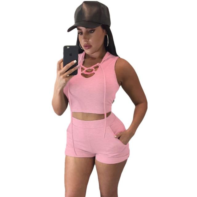 f7660a2d5 Cfanny 2016 Nuevo de Las Mujeres Sexy de Color Rosa Con Capucha Crop Top y  Short de Estilo Casual 2 Unidades Set Mujeres Corto Bodycon Ropa Traje ...