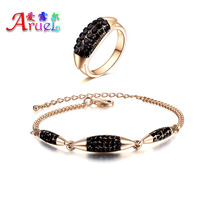 African Costume Vintage Jewelry Set Parure Dubai Gold Plated Black Rhinestone Ring Bracelet Fashion Jewellery Sets