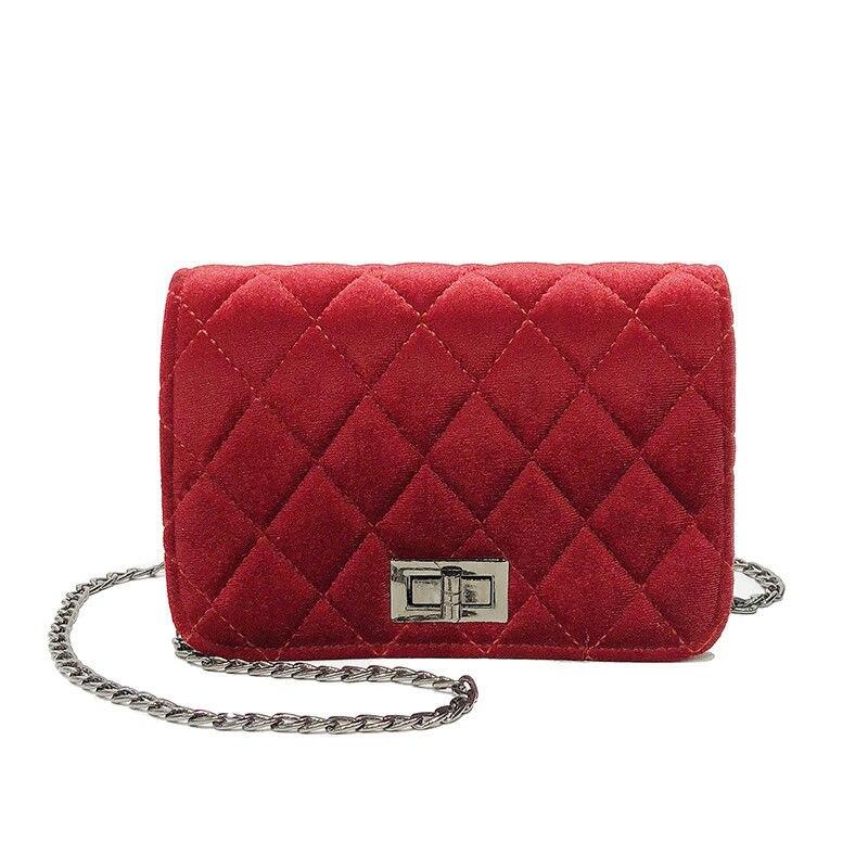 2019 Small Chain Women Bag Women Pleuche Handbag Women Messenger Bags Shoulder Crossbody Bag  Red Black Gray