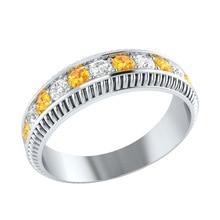 Huitan Eternity Ring Band Beautiful Young Stylish Bright Yellow CZ Stone Jewelry Trendy Proposal Statement Finger