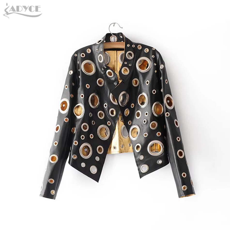 Adyce New Luxury Runway Coat Women Coats Black Golden Silver Long Sleeve Hollow Out Celebrity Lady Faux Fur Leather Club Coat-in Jackets from Women's Clothing    1