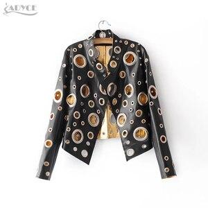 Image 1 - Adyce Yeni Lüks Pist Ceket Kadın Mont Siyah Altın Gümüş Uzun Kollu Hollow Out Ünlü Bayan Faux Kürk Deri Kulübü ceket