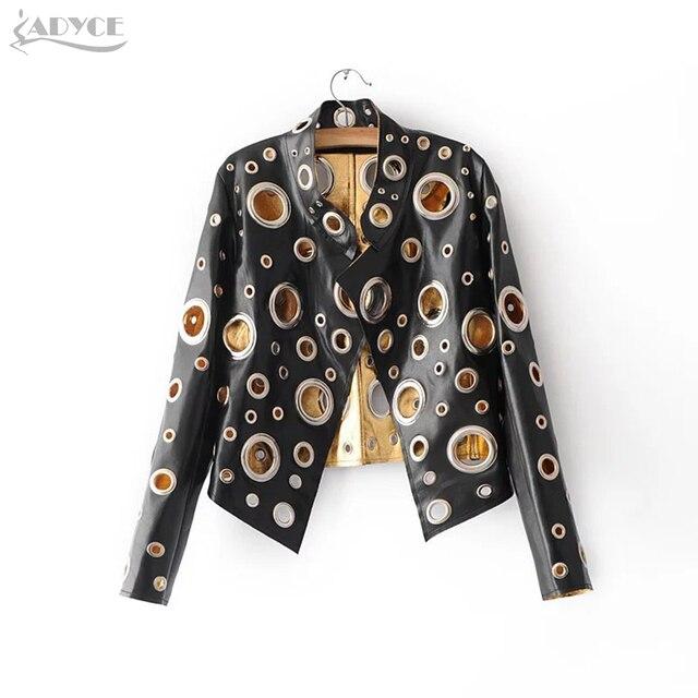 Adyce Yeni Lüks Pist Ceket Kadın Mont Siyah Altın Gümüş Uzun Kollu Hollow Out Ünlü Bayan Faux Kürk Deri Kulübü ceket