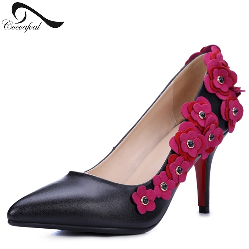 ФОТО Retro Elegant High Heels Flower Decoration Women Shoes Shallow Mouth Rivet Banquet Pointed Wedding Shoes Pumps Genuine Leather