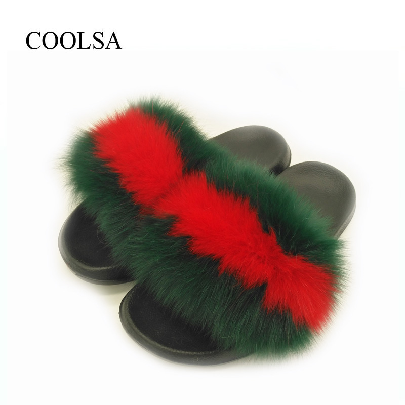 24251b496fb0a3 Women Fox Fur Slippers New Designer Fur Slides Women Flat Non-slip ...