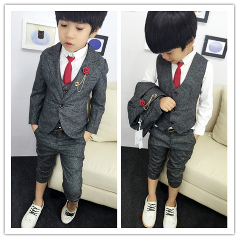 Us 35 94 Kids Boys Winter Blazer Jacket Set 2015 New Autumn Baby Child Gentleman Vest Flower Boy Dress Pant Suit 3pcs For Wedding On Aliexpress Com