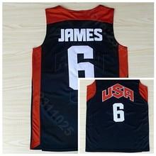84903268f Ediwallen Men 6 LeBron James 2012 USA Dream Team Ten Basketball Jerseys  Uniform Navy Blue Home