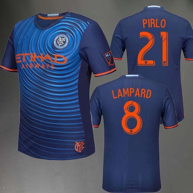 2016 2017 New York City FC Soccer Jersey PIRLO 2016 17 DAVID VILLA 7  LAMPARD 8 longe New York City JERSEYS futbol uniformes 1a8f46e225fe