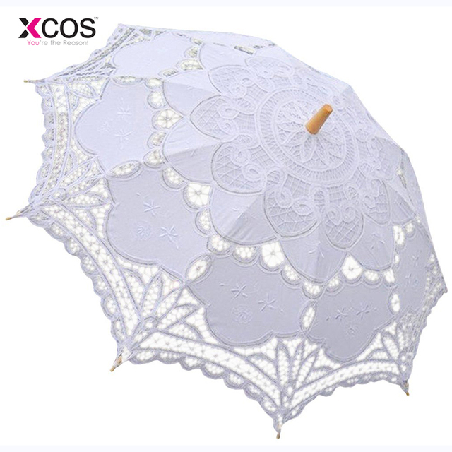 Free Shipping Lace Manual Opening Wedding Umbrella Bride Parasol Accessories For Bridal Shower