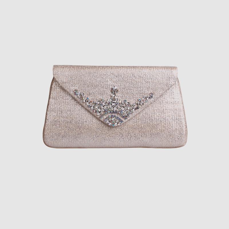 LOCAL FOCAL Champagne colour handmade envelope handbag local focal fashionable handmade with delicate handbag