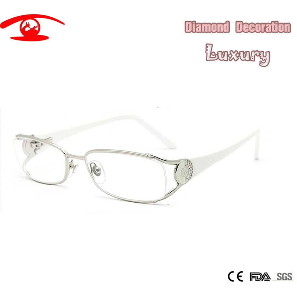 New Diamond Fashion Brand Designer Eye Glasses Frames for Women Preskripsi Luxury Optical Frame Women oculos de grau Female