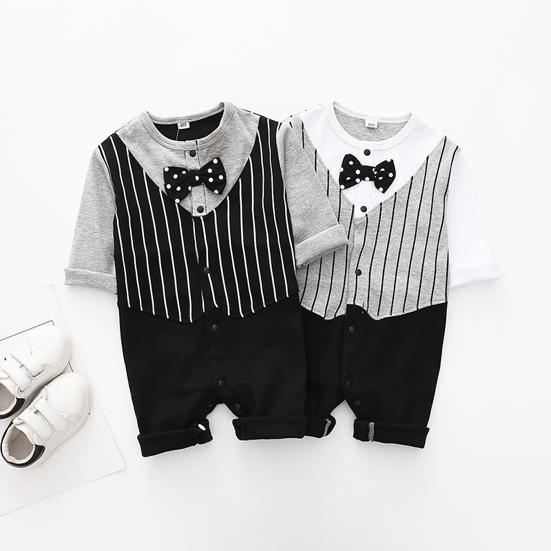 Newborn baby cotton   rompers   Autumn Long sleeve baby boy gentleman jumpsuits bebe roupas overalls 1 year birthday baby clothes