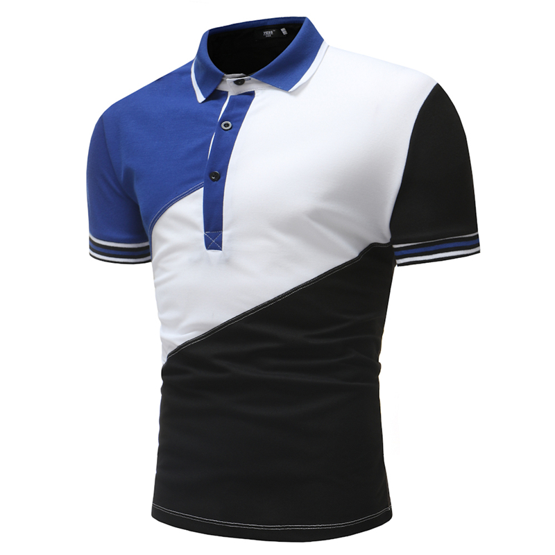 Brand Clothing New Men's   Polo   Shirt Short Sleeve Men Cotton Solid Casual   polo   shirts Men Patchwork   Polo   Fashion Slim Fit   Polo