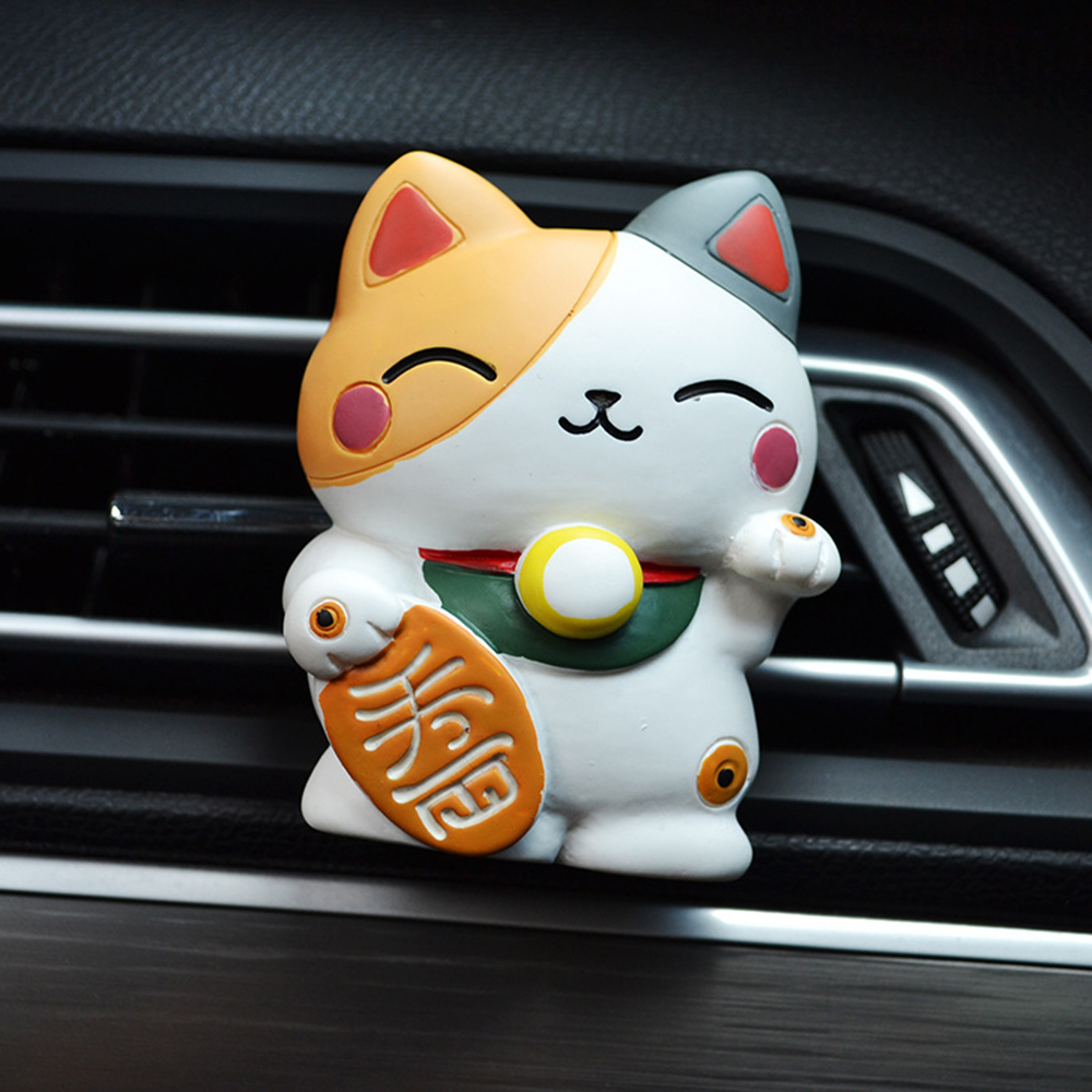 Car Ornament Lucky Fortune Cat Perfume Clip Air Fragrant Freshener Outlet Vents Fragrance Diffuser Accessories Auto Decoration