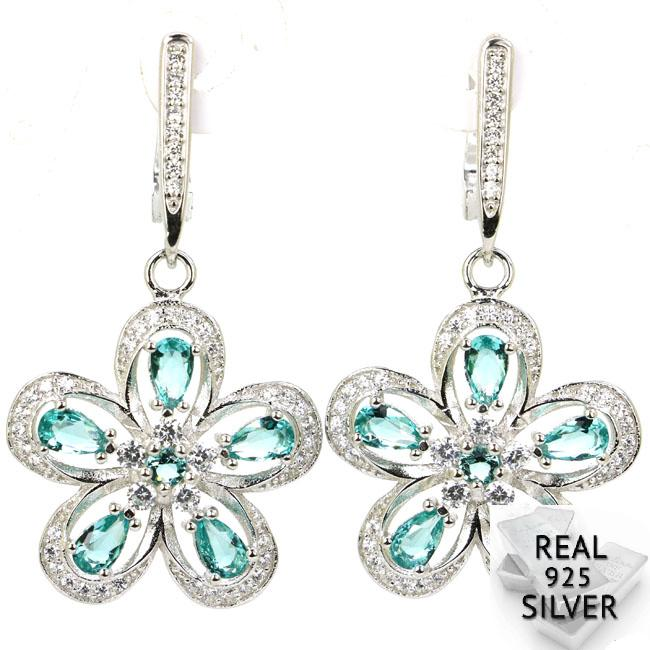 Real 7.9g 925 Solid Sterling Silver Deluxe Top Rich Blue Aquamarine CZ Ladies Earrings 41x22mm