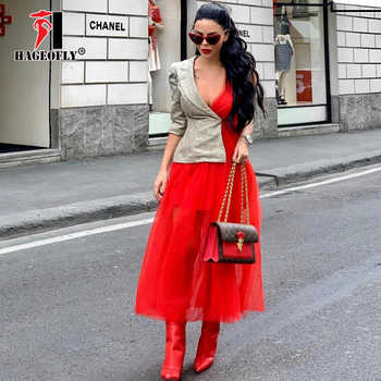 New Designer Runway Dress for Summer 2019 High Street Fashion Red Mesh Pleated Patchwork Single Sleeve Maxi Long Women Dresses - DISCOUNT ITEM  36% OFF All Category