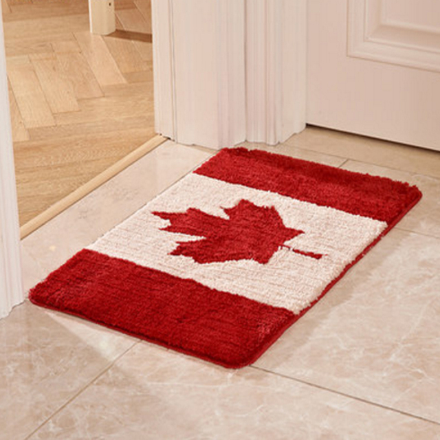 Canada Uk Netherlands Flag Pattern Super Soft Shaggy Non Slip Absorbent Rug Bathroom
