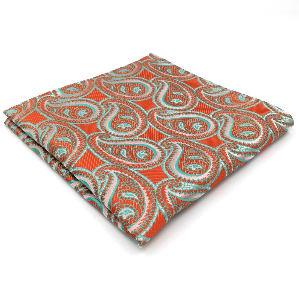 Paisley Orange Pocket Square Handkerchief Silk Big Size Handkerchief Wedding