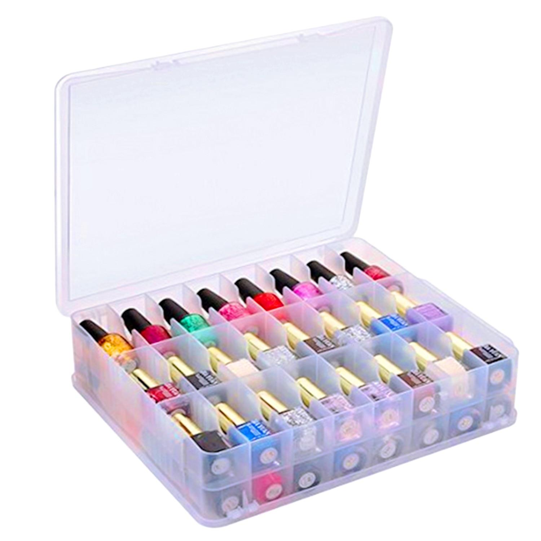 48 сеток пластиковый лак для ногтей губная помада коробка для хранения портативный двухсторонний держатель Подставка для макияжа эфирные масла органайзер для лака для ногтей
