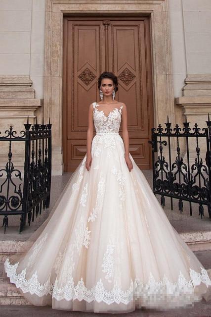 Vestido De novia Champagne 2020, vestido De novia, apliques De encaje, ilusión, vestidos De novia De línea A, vestidos De novia lakshmigown