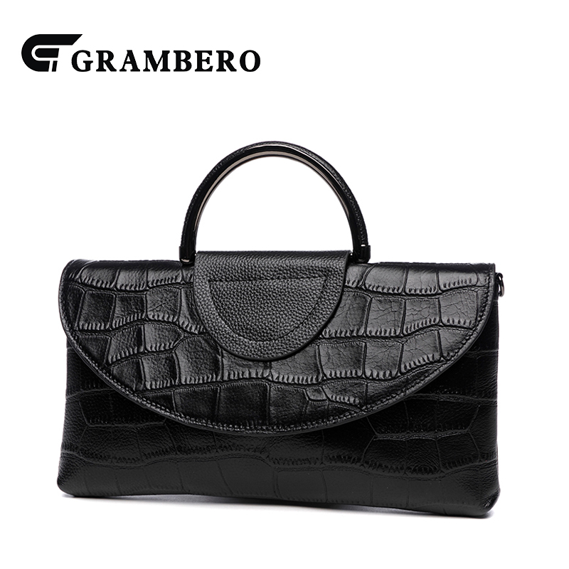 Fashion Solid Color Women Handbag Alligator Texture Soft Top Leather Casual Top Handle Bags Party Shopping Lady Crossbody Bags