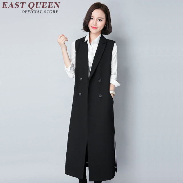 Black Long Sleeveless Vests Women's