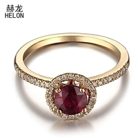 Solid 14K 585 Yellow Gold Real Diamond Flawless 5MM Round Treated Ruby Ring Setting Engagement Wedding