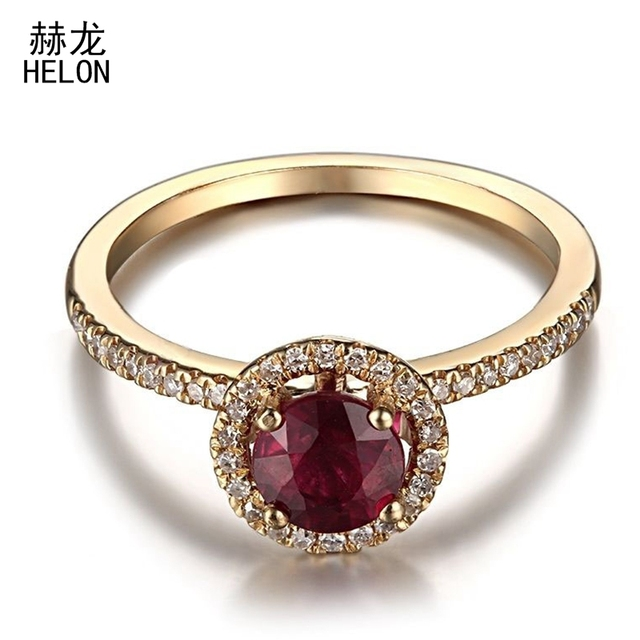 Solid 14K (585) Yellow Gold Real Diamond Flawless 5MM Round Treated Ruby Ring Setting Engagement Wedding Women Fine Jewelry Ring