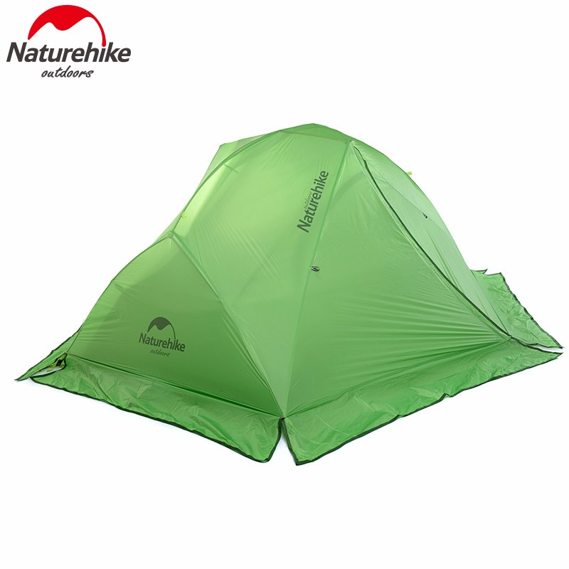 NatureHike 2 Person Tent Waterproof Hiking Tent Double-layer Tent with Skirt 4 season Travel Tent for Camping NH17T012-T good quality flytop double layer 2 person 4 season aluminum rod outdoor camping tent topwind 2 plus with snow skirt 3colors