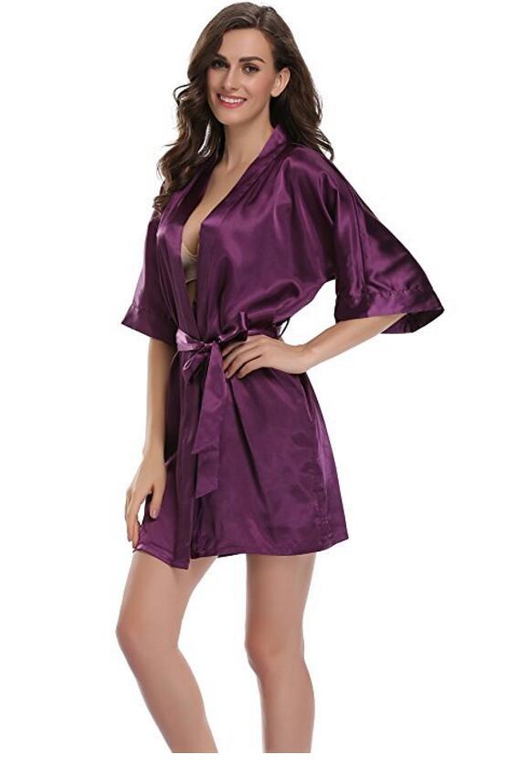 Women\'S Nightgown Satin Robes Belt Pajamas Sleepwear Nightdress Kimono Robe Short Bathrobe