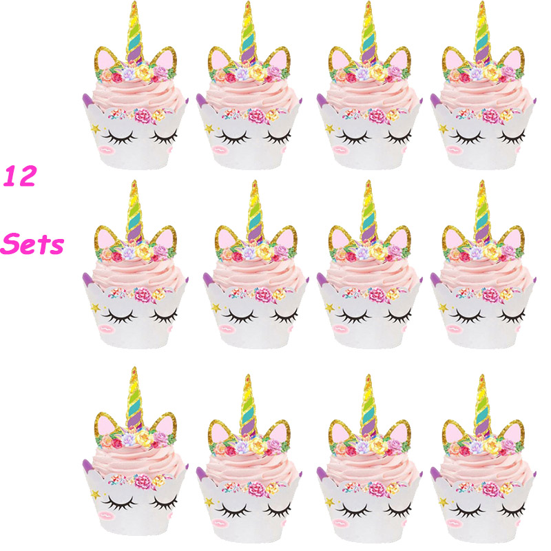 WEIGAO Birthday Cupcake Toppers Rainbow Unicorn Cake Toppers Happy Birthday Party Baby Shower Unicorn Party Decor Supplies birthday cake