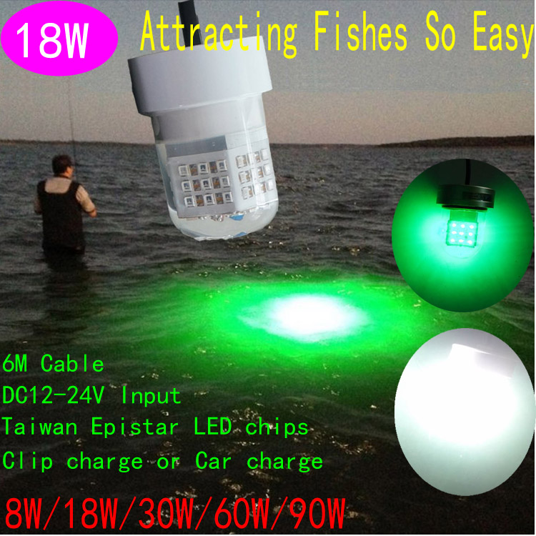 18w led fishing lights with green color submersible green for Green led fishing lights