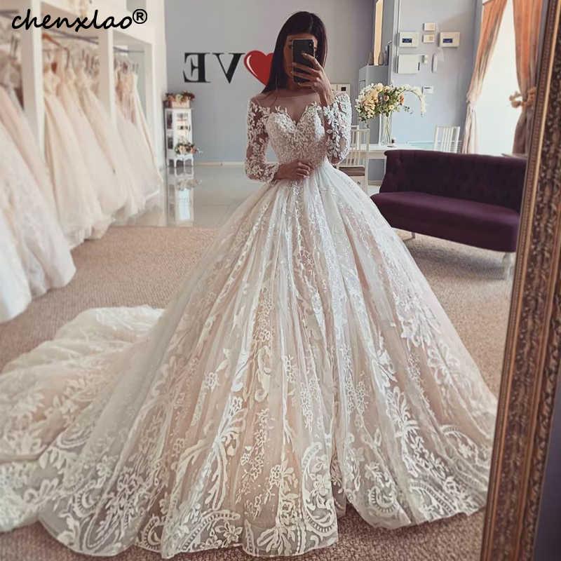2019 חדש חתונת שמלות כדור שמלת תחרת תכשיט צוואר ארוך שרוולי חתונת שמלת כלה שמלות Vestido דה Noiva
