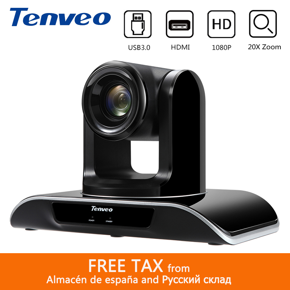 Tenveo VHD203U 1080p60fps HD 20X Zoom PTZ HDMI caméra vidéo conférence simultanée HDMI USB3.0 sortie pour YouTube Facebook