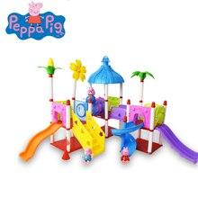 Peppa الخنزير نموذج عمل دمى أشكال دُمى أطفال فيلا القلعة لغز مجموعة لعبة للأطفال هدية عيد ميلاد